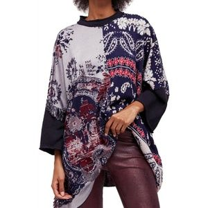 FREE PEOPLE Pieced With Paisley Patchwork Poncho
